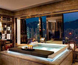 luxury, bathroom, and city image