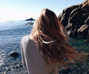 girl, hair, and beach image