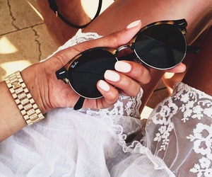 girl, sunglasses, and white image