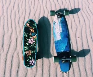 beach, sand, and skateboard image