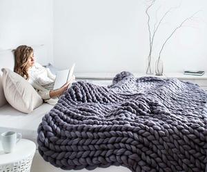 blanket, wool, and yarn image