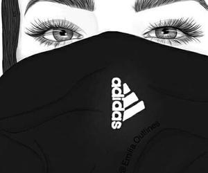 girl, adidas, and outline image