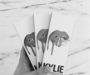 black & white, lipstick, and nails image