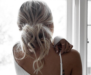 blonde, braid, and curly hair image