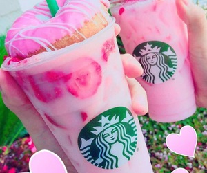 starbucks, donuts, and pink image