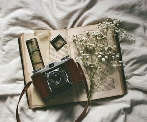 book, camera, and vintage image