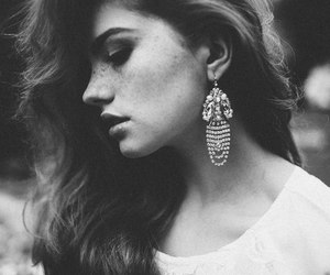 black and white, freckles, and model image