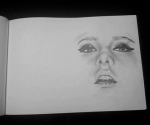 draw, face, and black and white image