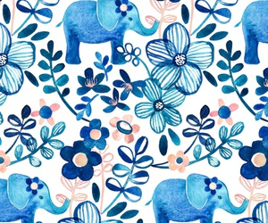 background, blue, and elephant image