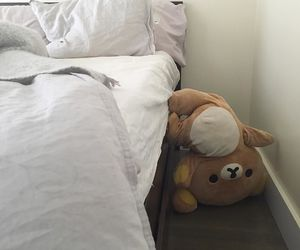 bed, bear, and white image