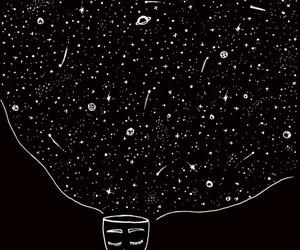black, stars, and mind image