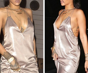 rihanna, dress, and tattoo image