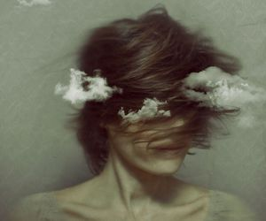 clouds, girl, and hair image