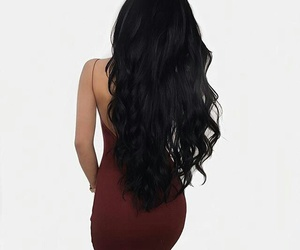 backless dress, burgundy dress, and long curled black hair image