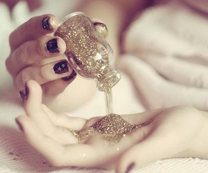 black and white, girl, and glitter image