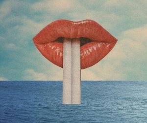 lips, cigarette, and sea image