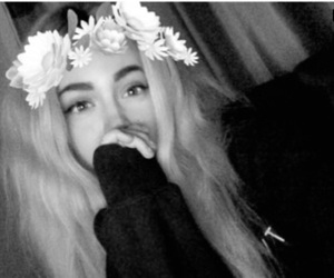 black and white, flower crown, and girl image