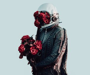 astronaut and flowers image