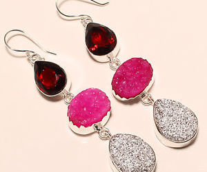 garnet and raw druzy earrings image