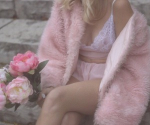 bralette, faux fur, and flowers image