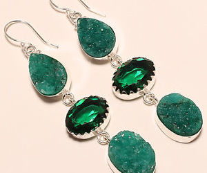 silver, chrome diopside earrings, and raw druzy image