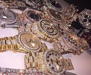 watch, gold, and diamond image