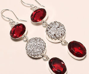 druzy, silver earrings, and red garnet image