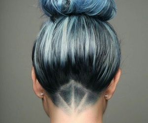 shaved haircut and straight light blue buns image