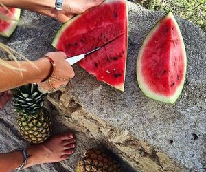 watermelon, summer, and fruit image