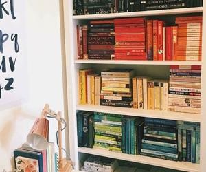 colours, books, and bookshelf image