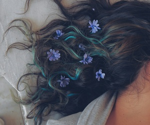 bluehair, flowers, and hair image