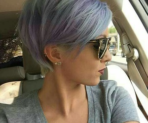 hair, blue, and sunglasses image