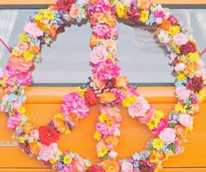 peace, flowers, and colors image