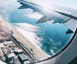 travel, beach, and plane image