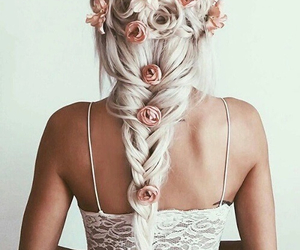 blonde hair, girl, and braided hair image