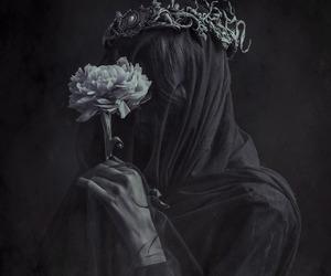 dark, flowers, and art image
