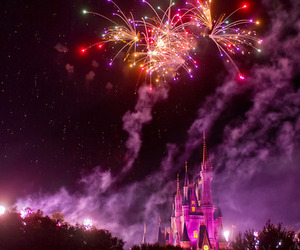 fireworks, disney, and castle image