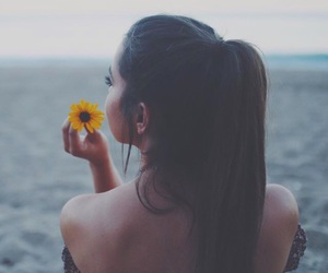 beach, flower, and hair image
