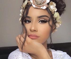 flowers, girl, and big eyelashes image