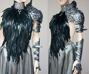 armour, plumage, and black image