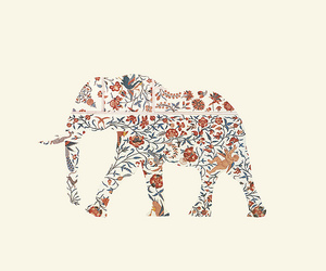 elephant, flowers, and art image