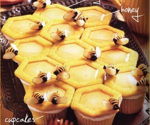 cupcake, bee, and honey image