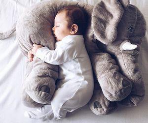 baby, elephant, and kids image