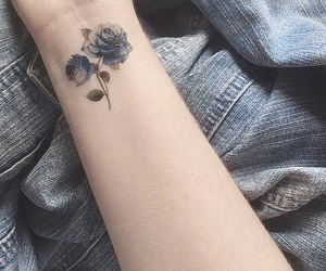 arm, blue, and flowers image