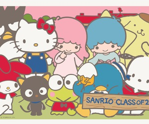 hello kitty, class picture, and sanrio friends image