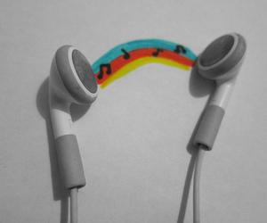 earphones, music, and rainbow image
