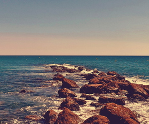 beach, sea, and rock image