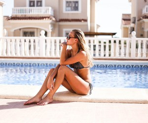 bikini, blonde, and pool image
