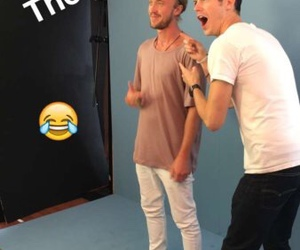 the flash, grant gustin, and tom felton image