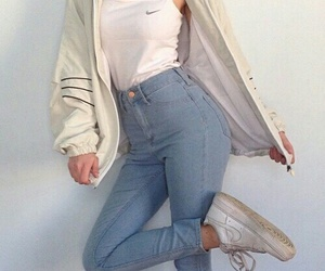 jacket, white, and jeans image